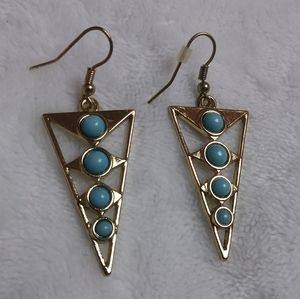 Women's Aqua & Gold Earrings